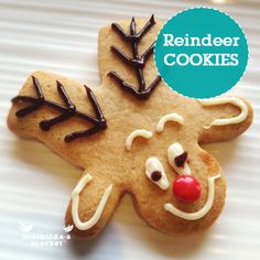 Reindeer cookies Christmas gingerbread recipes Christmas Cooking with kids Christmas Labels, Christmas Love, Christmas Candy, Christmas Desserts, Christmas Gingerbread, Gingerbread Recipes, Gingerbread Men, Xmas Food, Christmas Cooking