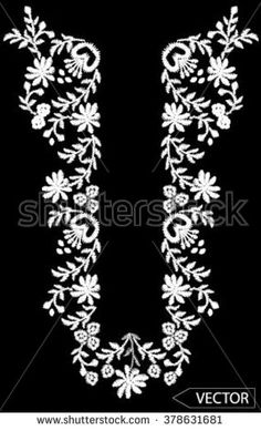 neck line flower embroidery designs - stock vector