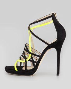 Jimmy Choo Myth Strappy Suede Sandal, Black/Yellow - Neiman Marcus