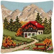 Mountain Cottage Embroidered Cushion Tapestry Kit Morris and Sons Cross Stitch House, Cross Stitch Kits, Cross Stitch Charts, Cross Stitch Designs, Cross Stitch Patterns, Cross Stitching, Cross Stitch Embroidery, Hand Embroidery, Diy Finger Knitting