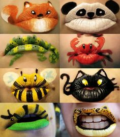 Animals Painted on Lips