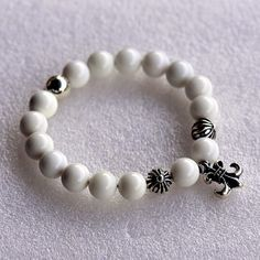 BS Fleur Cross Ball White Chrome Hearts Bracelet Sale