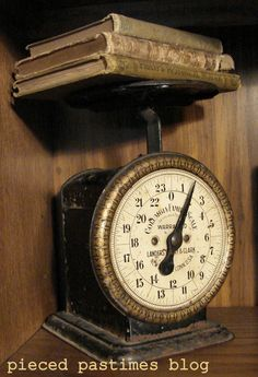 Great idea!  I am going to buy vintage cookbooks to use on my vintage kitchen scale!