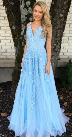 chic light blue long prom dresses, modest lace graduation party dresses, formal prom dresses for teens Blue Lace Prom Dress, Prom Dresses Blue, Cheap Prom Dresses, Dresses For Teens, Dance Dresses, Sexy Dresses, Lace Dress, Tulle Lace, Long Dresses