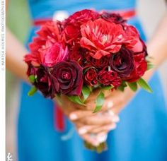 Bridesmaid Bouquets Red & Pink :  wedding bridesmaid bouquets damask pink red roses Gujj