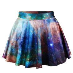 Erlking Women's Basic Versatile Galaxy Stretchy Flared Skater Skirt... ($8.05) ❤ liked on Polyvore featuring skirts, galaxy, galaxy skater skirt, flared hem skirt, skater skirt, circle skirt and stretchy skirt