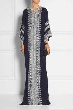 Oscar de la Renta | Embellished embroidered silk-georgette gown | NET-A-PORTER.COM