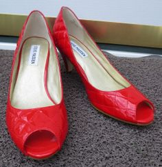 Woman's Steve Madden Quilted Patent Red Leather Heels Size 7 1/2 M Shoes Pumps Now $19.87