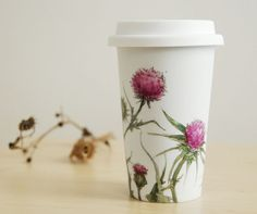 Ceramic Eco-Friendly Travel Mug - Thistles, Botanical Collection - made to order  #etsy yevgenia