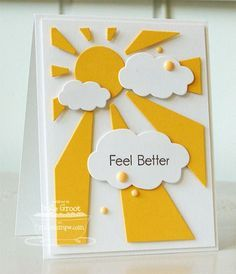 handmade card ... die cut creation ... white and bright yellow ... die cut sun and rays as base layer ... three fluffy die cut clouds float ...