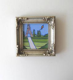 Eiffel Tower Framed Landscape Painting Original acrylic