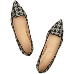 Houndstooth-jacquard point-toe flats (125 CAD) ❤ liked on Polyvore featuring shoes, flats, pointy toe shoes, flat heel shoes, houndstooth flat shoes, flat pumps and pointed toe flats