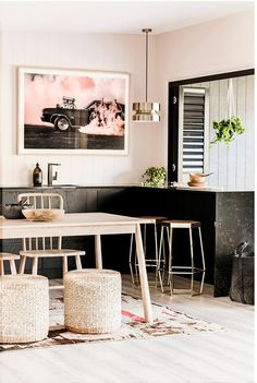 Three Birds Renovations tell us all about their tinniest reno yet - turning a run-down river shack and caravan into a stylish holiday weekender. Colorful Furniture, Metal Furniture, Kitchen Furniture, Living Room Furniture, All White Kitchen, Old Kitchen, Black Kitchens, Inexpensive Furniture, Cheap Furniture