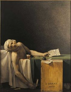 "French Revolution Artist, David, created this picture, ""The Death of Marat""."