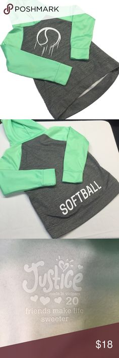 "Girl's Softball Pullover Very cute and sporty girl's (child's) hoodie pullover from Justice! Mint green sleeves and hood. Sparkly softball graphic on the front. The word ""softball"" is on the back. In perfect new without tags condition. Smoke and pet free home. Size 20. Justice Shirts & Tops Sweatshirts & Hoodies"