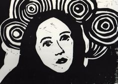 "Saatchi Art Artist: Simone Luettringhaus; Linocuts 2010 Printmaking ""Woman with circles"""