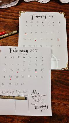 Hand lettered calendar.