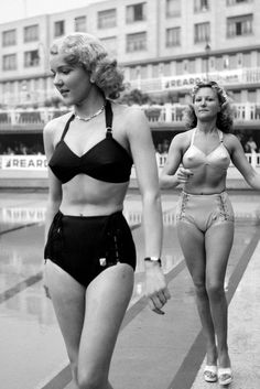 Reard Fashion Show, 1946 - Bikini briefs in the forties were HUGE – and note the structured tops. Models perfect their catwalk struts at the Reard show in 1946.