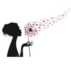 Woman holding dandelion with red hearts vector image on VectorStock Silhouette Painting, Woman Silhouette, Silhouette Vector, Dandelion Drawing, Blowing Dandelion, Dandelion Art, Girly Drawings, Art Drawings, Blowing Wind