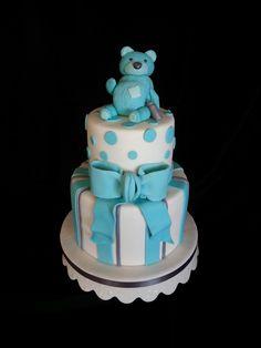 Blue Teddy bear baby shower cake