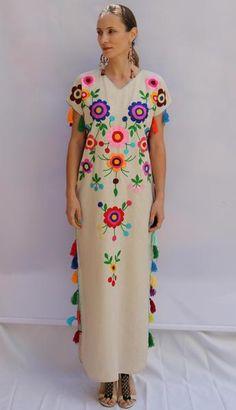Fanm Mon Cream Linen Mult Color Floral Handmade Embroidered Folk Maxi Tassels Dress. Sizes - XS-XXL KAF002