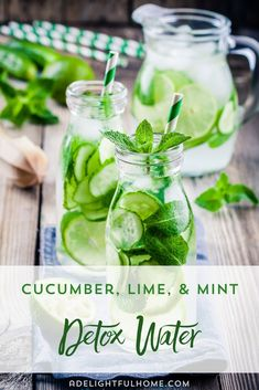 Cucumber, lime and mint water recipe - without fuss of course - Flavored water recipes - Detox Mint Detox Water, Cucumber Detox Water, Digestive Detox, Detox Kur, Full Body Detox, Natural Detox Drinks, Best Detox, Fat Burning Detox Drinks, Healthy Detox