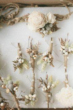 Winter Boutonniere - A Vintage Fur Cape for a Romantic Snowy Winter Wedding