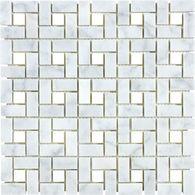 floor tile.  Carrara Pinwheel Marble Natural Stone Mosaic Basketweave Wall Tile (Common: 12-in x 12-in; Actual: 11.75-in x 11.75-in)