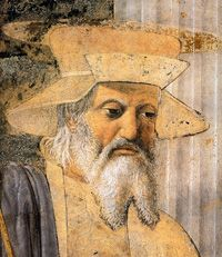 Piero della Francesca, San Sigismondo, particolare da  Sigismondo Pandolfo Malatesta in preghiera davanti a san Sigismondo, 1451, Tempio Malatestiano di Rimini