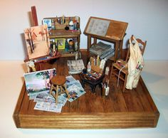 As you can see, I& been very busy ! This is a special order I created of an art studio scene to place on a table as a conversation piece. Vitrine Miniature, Miniature Rooms, Miniature Crafts, Miniature Houses, Miniature Furniture, Painters Studio, Mini Craft, Miniture Things, Oeuvre D'art