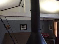 1960s Retro Chain Suspended Wood Burning Fireplace Stove Carousel Black Suspended Fireplace, Stove Fireplace, Wood Burning, Carousel, Mid-century Modern, 1960s, Mid Century, Retro, Lighting