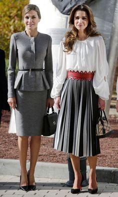Queen Letizia of Spain and Queen Rania Abdullah of Jordan visit the Molecular Biology Center 'Severo Ochoa' at the Autonoma University on November 20, 2015 in Madrid, Spain.