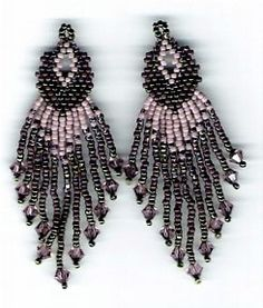 Purple Ditty Bead Earrings Pattern at Sova-Enterprises.com
