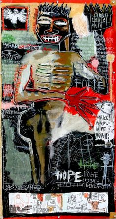 """""""Hope, 2013"""" by Sylvia Calmejane  - Acrylic, collages and perspex bolted on wood 150 x 80 cm #Street #Art"""