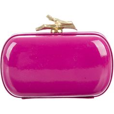 Pre-owned Diane von Furstenberg Patent Leather Lytton Clutch ($85) ❤ liked on Polyvore featuring bags, handbags, clutches, pink, pink clutches, hand bags, chain strap purse, pink purse and diane von furstenberg purses