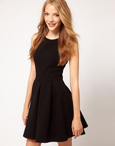 ASOS Skater Dress With V Back   The perfect black dress to go from day to night!