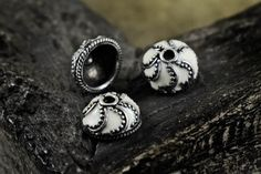 Antiqued Silver Bead Caps 13x6mm White Enamel Bali Style