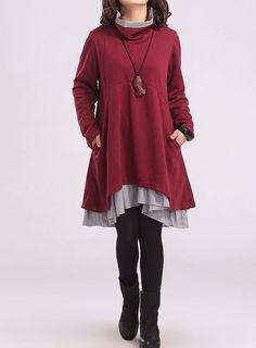 Wine red cotton dress layered dress Turtleneck by Beautygirl02, $57.00