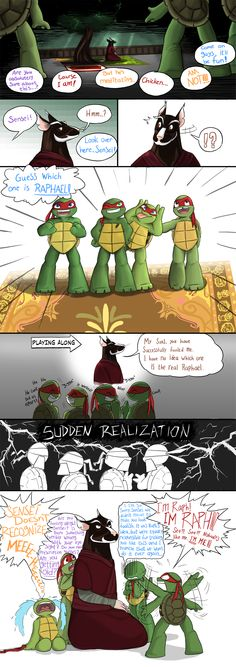 TMNT - Guessing Game by Myrling on DeviantArt<- This makes me laugh as hard as it should (which is a lot) #TMNT comic #Mask #Leo #Raph #Donnie #Mikey #Splinter #Paternity