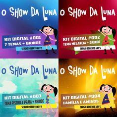 O Show Da Luna - Kit 4 Em 1 + Brindes - Kit Scrapbook Digital, Papeis e Elementos. Abelhas, Arco-Iris, Astronauta, Bananas, Borboletas, Rabanete, Elementos Básicos, Especial Melancia, Piscina e Praia, Familia e Amigos.