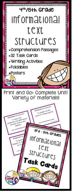 This 60 page complete packet for informational text structures is filled with task cards, graphic organizers, worksheets, posters, doubled sided practice passages, writing activities, foldables, a flip book and more! Lots of materials here with lots of variety. Engaging! (TpT Resource)