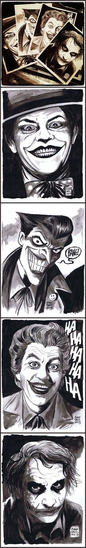 Francesco Francavilla: In honor of the Joker's 75th Anniversary -- Joker Poker! (Jack Nicholson, in the style of Bruce Timm, Cesar Romero, Heath Ledger)