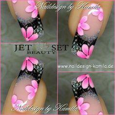 uñas frances negro plata flores color rosa