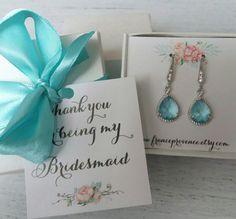 Bridesmaid jewelry set of 4 earrings blue aquamarine earrings Bridesmaid jewelry Bridesmaid Gift Blue Silver Earrings by FranceProvence #TrendingEtsy