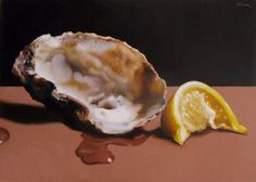 Oyster Shell with Lemon, painting by artist Oriana Kacicek