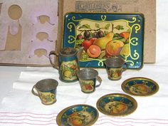 Antique Vintage Tin Litho Child's Tea Coffee Service Set w Original Box