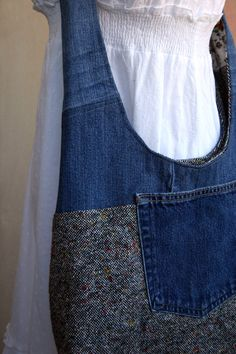 Felt and recycled denim jean designed bag