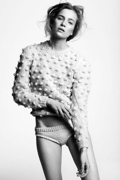moody black and white photography of cropped pom pom sweater by Nanna van Blaaderen — Knit design for fashion and home textiles