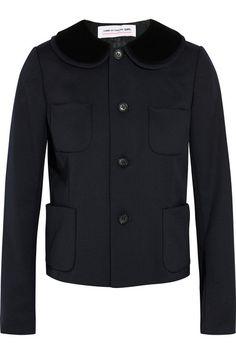 Midnight-blue wool-twill, black velvet Button fastenings through front  100% wool; trim: 100% cotton; lining: 100% cupro  Dry clean