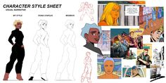 so for school we had to design our own character and then redraw them in the style of two artist and I chose Moebius and Fiona Staples Style Sheet, Comic Character, Comics, Artwork, Artist, Work Of Art, Artists, Comic Book, Comic Books